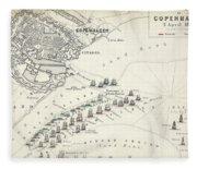 Map Of The Battle Of Copenhagen Fleece Blanket