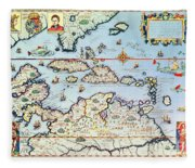 Map Of The Caribbean Islands And The American State Of Florida  Fleece Blanket
