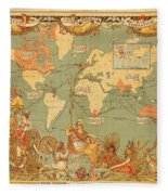 Map Of The Extent Of The British Empire 1886  Fleece Blanket
