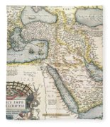 Map Of The Middle East From The Sixteenth Century Fleece Blanket