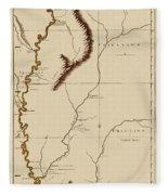 Map Of The Mississippi Riverr 1775 Fleece Blanket