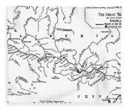Map Of The Trans-siberian Railway Fleece Blanket