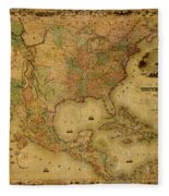 Map Of The United States 1849 Fleece Blanket