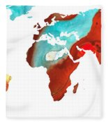 Map Of The World 4 -colorful Abstract Art Fleece Blanket