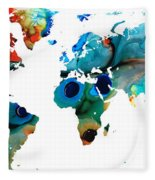 Map Of The World 6 -colorful Abstract Art Fleece Blanket