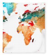 Map Of The World 7 -colorful Abstract Art Fleece Blanket