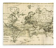 Map Of The World Using The Mercator Projection Fleece Blanket