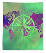 Map Of The World Wind Rose 3 Fleece Blanket