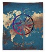 Map Of The World Wind Rose 4 Fleece Blanket