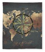 Map Of The World Wind Rose 5 Fleece Blanket