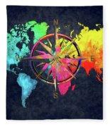 Map Of The World Wind Rose 6 Fleece Blanket