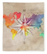 Map Of The World Wind Rose 7 Fleece Blanket