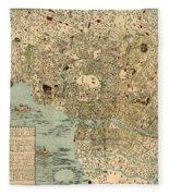 Map Of Tokyo 1854 Fleece Blanket