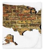 Map Of Usa And Wall. Fleece Blanket