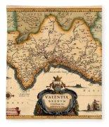 Map Of Valencia 1634 Fleece Blanket