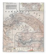 Map: Panama, 1907 Fleece Blanket