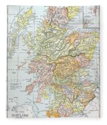 Map: Scotland Fleece Blanket
