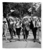 Marchers Wearing Hats Carry Puerto Rican Flags Down Constitution Avenue Fleece Blanket
