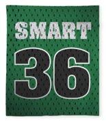 Marcus Smart Boston Celtics Number 36 Retro Vintage Jersey Closeup Graphic Design Fleece Blanket