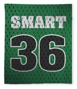 Marcus Smart Boston Celtics Number 36 Retro Vintage Jersey Closeup Graphic Design Fleece Blanket