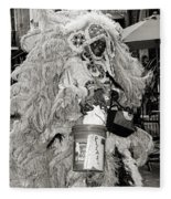Mardi Gras Indian In Pirates Alley In Black And White Fleece Blanket