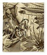 Mardi Gras - New Orleans 3 - Sepia Fleece Blanket