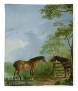 Mare And Stallion In A Landscape Fleece Blanket