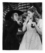 Margaret Hamilton And Judy Garland In The Wizard Of Oz 1939 Fleece Blanket