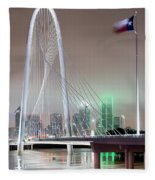 Margaret Hunt Hill Bridge Flag Fleece Blanket
