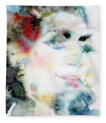 Maria Callas - Watercolor Portrait.4 Fleece Blanket