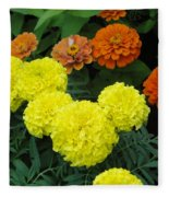 Marigold And Zinnias Fleece Blanket