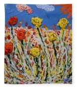 Marigold Flower Garden Fleece Blanket