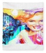 Marilyn In Italy Fleece Blanket