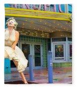 Marilyn Monroe In Front Of Tropic Theatre In Key West Fleece Blanket