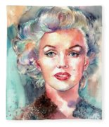 Marilyn Monroe Portrait Fleece Blanket