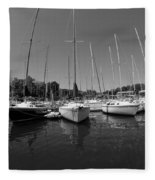 Marina On Lake Murray S C Black And White Fleece Blanket