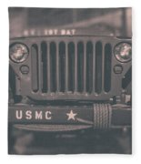Marine Corps Jeep In Black And White Fleece Blanket