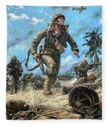 Marines In The Pacific Fleece Blanket