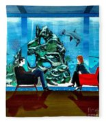 Marinelife Observing Couple Sitting In Chairs Fleece Blanket