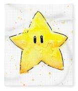 Mario Invincibility Star Watercolor Fleece Blanket