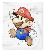 Mario Watercolor Fan Art Fleece Blanket