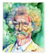 Mark Twain Watercolor Fleece Blanket
