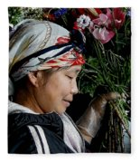 Market Flowers Fleece Blanket
