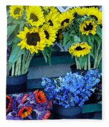 Market Fresh In Watercolor Fleece Blanket