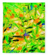 Orange Green Fleece Blanket