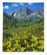 210403-v-maroon Bells And Sunflowers  Fleece Blanket