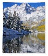 Maroon Lake And Bells 2 Fleece Blanket