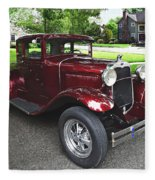Maroon Vintage Car Fleece Blanket