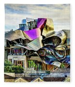 marques de riscal Hotel at sunset - frank gehry - vintage version Fleece Blanket