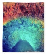 Mars Crater Surface Colorful Painting Fleece Blanket